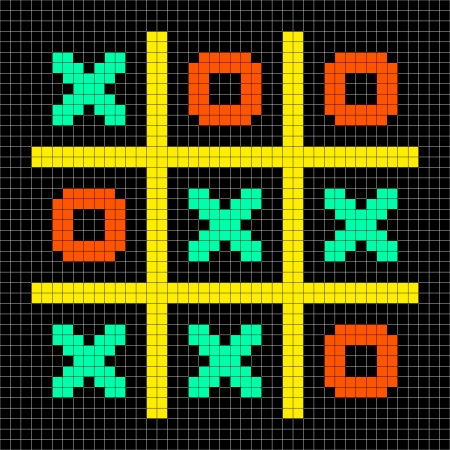 Noughts and crosses stalemate game depicted in 8-bit pixel art