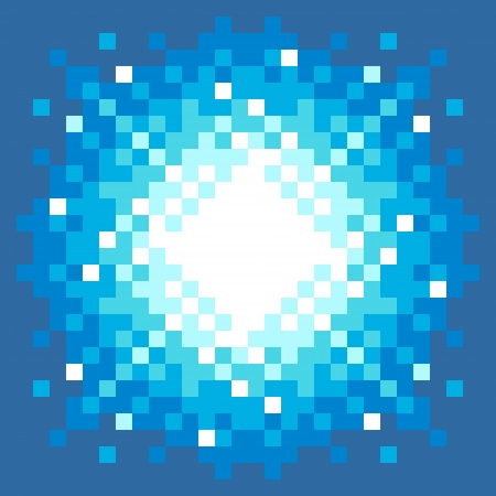 pixelart: 8-Bit Pixel-art Explosion on a Blue Background