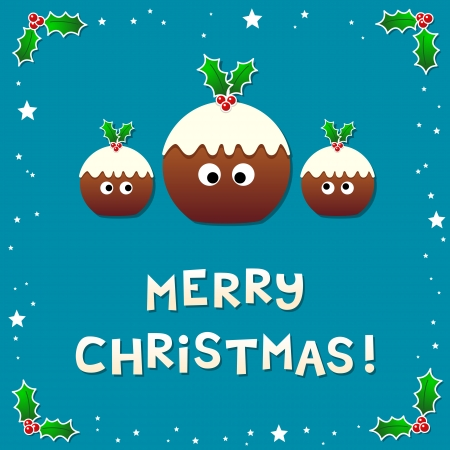 Cute Christmas Puddings Wishing a Merry Christmas. Assets separated into individual layers Illustration