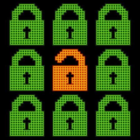 robustness: Online web security concept, represented in 8-bit pixel-art padlock icons. Colours are separated in individual layers and created using different sized strokes