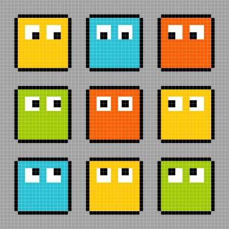 8-bit pixel characters looking in different directions. Each character is on a separate layer