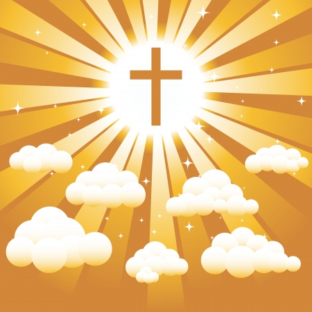 beliefs: A Christian cross against a golden sky with clouds and starts