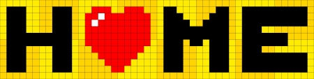 8-bit Pixel Lettering of Home with Love Heart Illustration