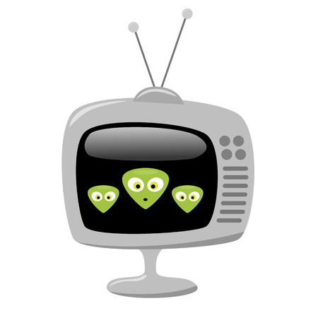 Three cartoon alien faces on a retro TV screen. EPS8 vector with no transparency Illustration