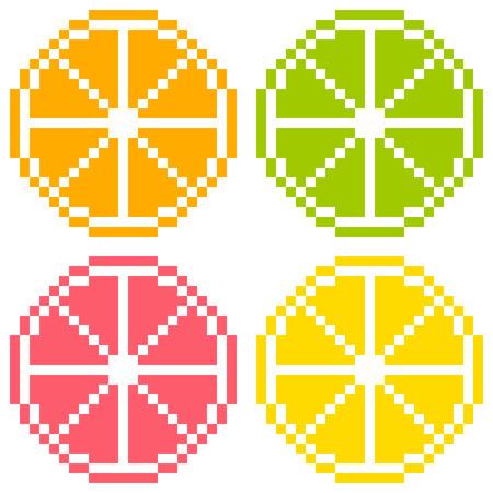 8-bit Pixel Art Citrus Fruit Slices - Orange, Lime, Grapefruit, Lemon  Seamless Background Tile Vector