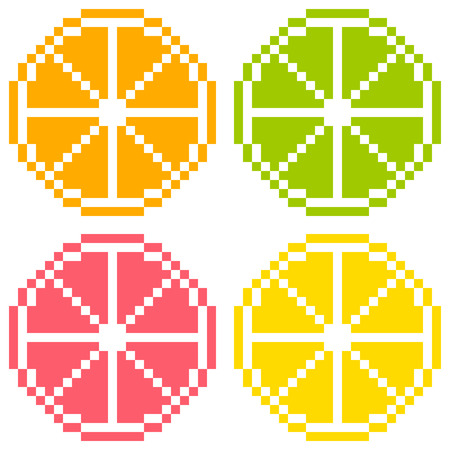 8-bit Pixel Art Citrus Fruit Slices - Orange, Lime, Grapefruit, Lemon  Seamless Background Tile Illustration