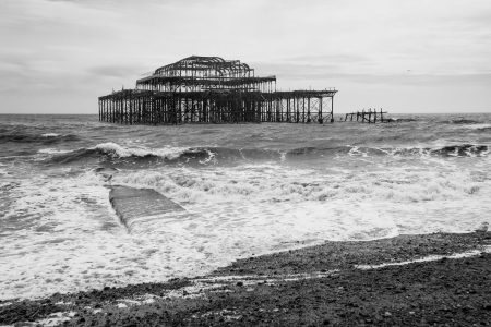 Black and white shot of the West Pier, Brighton, England Stock Photo