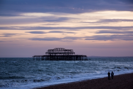 Evening shot of the West Pier, Brighton