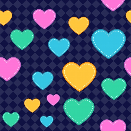 Seamless Heart Pattern Background. Assets are grouped on separate layers with a clipping path
