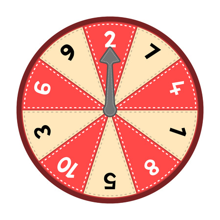 Vector number wheel showing numbers 1-10 in a random odd-even order. Assets are on separate layers with dashed strokes