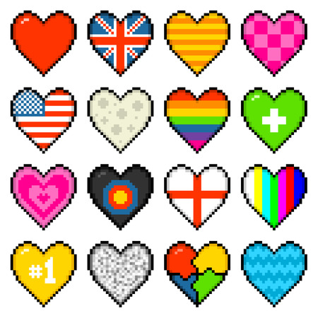 16 hearts of various designs in an 8-bit pixel art style Illustration