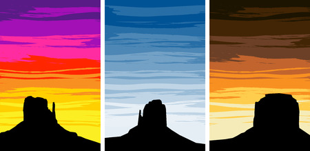 Silhouettes of the rock formations of Monument Valley Arizona Utah, USA against various colored sunset skies