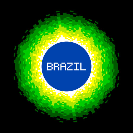 pixelart: 8-Bit Pixel-art Brazil World Concept. Illustration