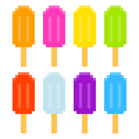 8-bit pixel-art ice lollies of different colors and fruity flavors, isolated on white