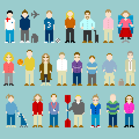 Pixel-art representations of people from the office, former work colleagues