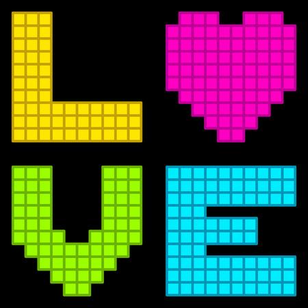 8bit: 8-Bit Retro Pixel Love Heart. Ogni elemento � su un livello separato, e consistono di singole piazze vettore per l'editing s'affacciava Vettoriali