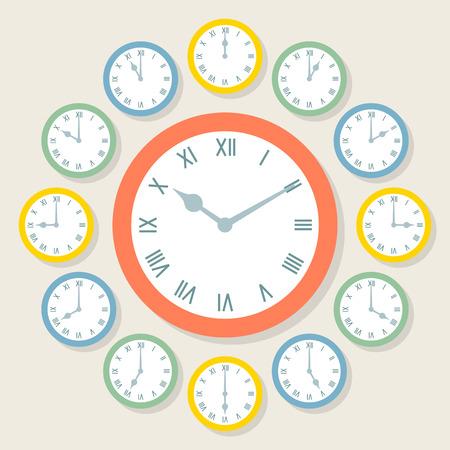 Retro Vector Roman Numeral Clocks Showing All 12 Hours Vector