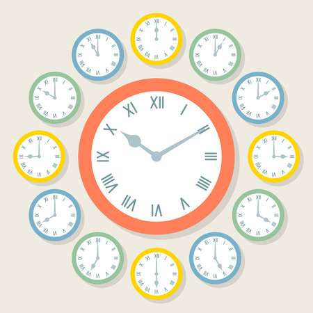 12 o'clock: Retro Vector Roman Numeral Clocks Showing All 12 Hours Illustration