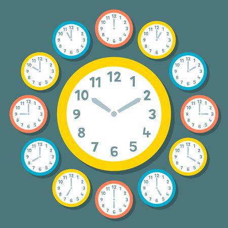 reloj: Retro Relojes Vector Mostrando Todas las 12 Horas Vectores