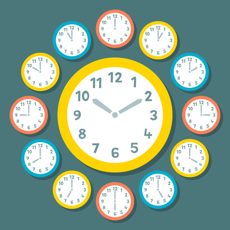 Retro Vector Clocks Showing All 12 Hours