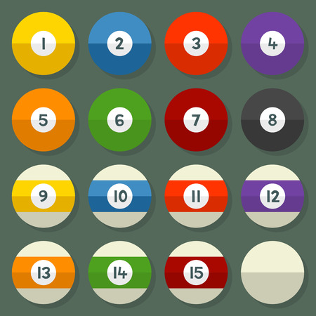 Pool Balls 1-15 in a Flat Vector Style Stock Vector - 34338195