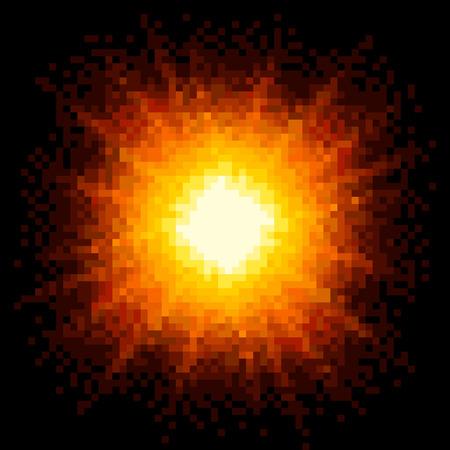 8bit: 8-bit Explosion Pixel Art Firey. Vector EPS8 Vettoriali