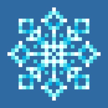 8bit: 8-Bit Pixel Snowflake. EPS8 Vector con ogni quadrato separato per una facile modifica
