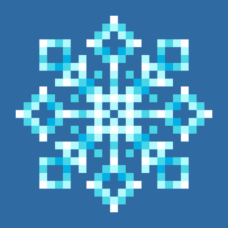 8-Bit Pixel Snowflake. EPS8 Vector with each square separated for easy modifications