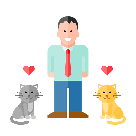 Vector Man in Shirt with Pet Cats. vector with assets on separate layers. No gradients or transparency used. Strokes are expanded into fills