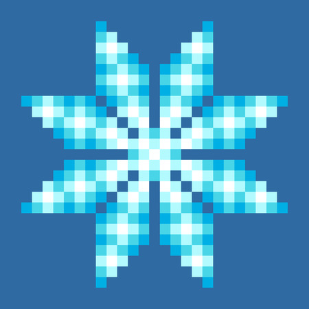 8-Bit Pixel Crystalline Snowflake. EPS8 Vector with each square separated for easy modifications
