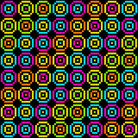 8-Bit Pixel Retro Circles Pattern. EPS8 Vector. Each coloured assets is on a separate layer, and left as separate vector squares for easy manipulation. No transparency - the glows are strokes with rounded corners Illustration