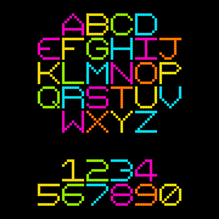 8-Bit Pixel Retro Neon Alphabet Letters. EPS8 Vector. Each coloured assets is on a separate layer, and left as separate vector squares for easy manipulation. No transparency - the glows are strokes with rounded corners