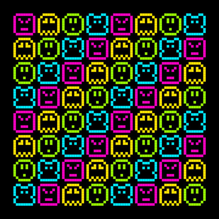 8-Bit Pixel Retro Rainbow Character Pattern. EPS8 Vector. Each coloured assets is on a separate layer, and left as separate vector squares for easy manipulation. No transparency - the glows are strokes with rounded corners