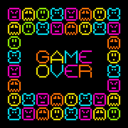 termination: 8-Bit Pixel Retro Arcade Game Over. EPS8 Vector. Each coloured assets is on a separate layer, and left as separate vector squares for easy manipulation. No transparency - the glows are strokes with rounded corners