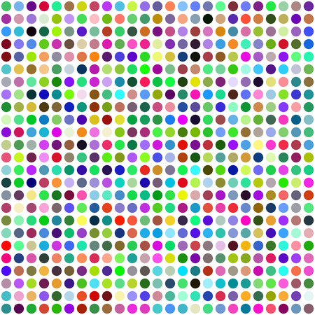 Grid of Random Colored Circles. Seamless Background. EPS8 Vector generated using a script