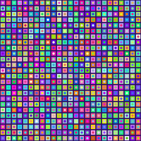 Multicolored Circles Inside Squares Seamless Background. EPS8 Vector Colors are randomly assigned. EPS8 Vector with no transparency Stock Vector - 39394258