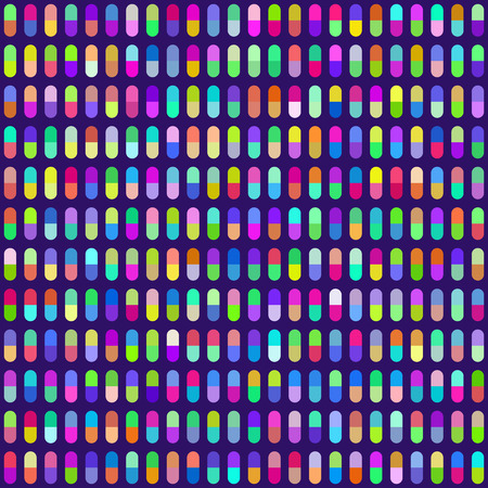 assigned: Multicolored Pill Capsules Seamless Background. Colors are randomly assigned. EPS8 Vector