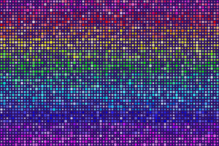 Random Rainbow Dots Pattern Seamless Background. Colors are randomly assigned. EPS8 Vector