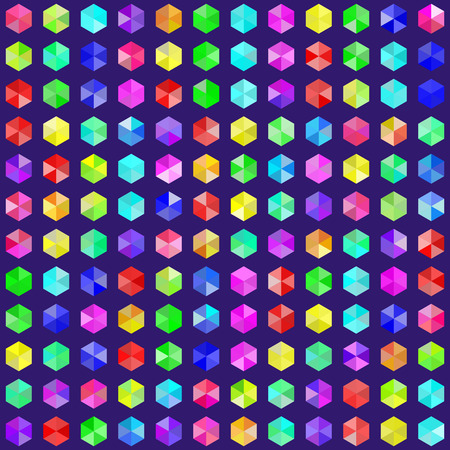 Hexagonal gems in random rainbow colors. EPS8 vector without transparency. Colors are generated by a script and gems are grouped