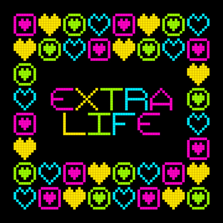 continuation: 8-Bit Pixel Retro Extra Life Message. EPS8 Vector. Each coloured assets is on a separate layer, and left as separate vector squares for easy manipulation. No transparency - the glows are strokes with rounded corners
