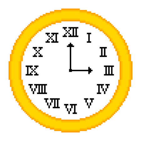 overtime: Retro clock depicted in an 8-bit pixel art style, showing 3 o'clock. EPS8 vector with assets on separate layers