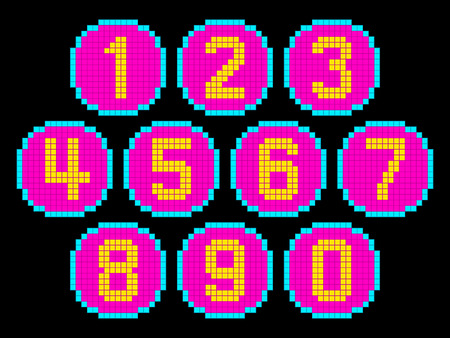 8-Bit Pixel Art Numbers in Circles. EPS8 Vector. Each number is on its own separate layer, and left as separate vector squares for easy manipulation. No transparency.