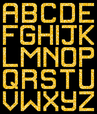 Pixel Gold Glitter A-Z Letters. EPS8 Vector without transparency or gradients. Each pixel left as a separate vector square for easy manipulation.