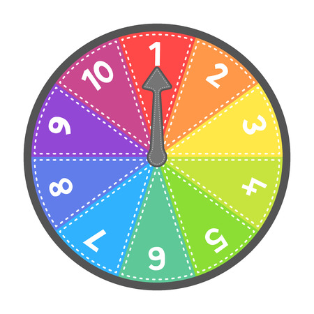 Vector number wheel showing numbers 1-10 in order. EPS8 Vector. Assets are on separate layers with dashed strokes