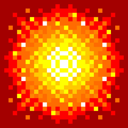 8-Bit Pixel-art Firey Explosion on a Red Background. EPS8 vector