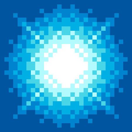 8-Bit Pixel-art Blue Explosion. EPS8 vector