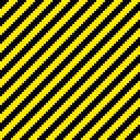 Black and yellow diagonal warning stripes done in a pixel-art style. Seamless background tile. Each pixel is left as its own vector square for further editing Illustration
