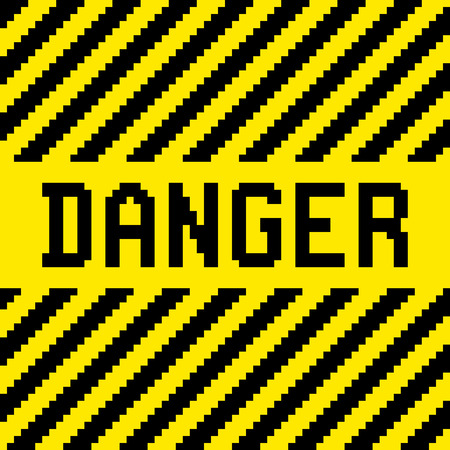 Danger sign with black and yellow diagonal warning stripes, in a pixel-art style. Layered EPS8 vector Illustration