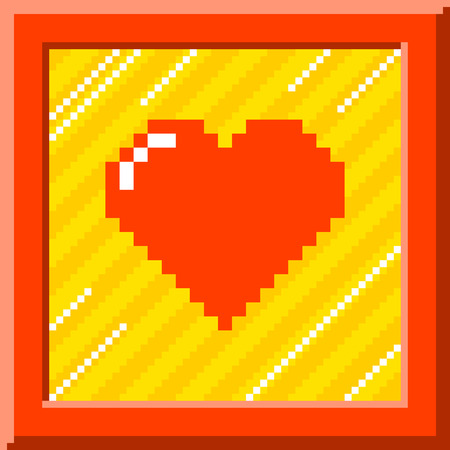 Red pixel heart surrounded by a red border against a stripy background. The heart is formed out of individual squares and is left for easy editing. Illustration
