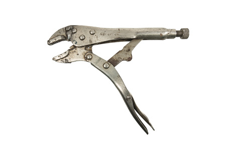 locking: Old locking pliers isolated on a white background Stock Photo